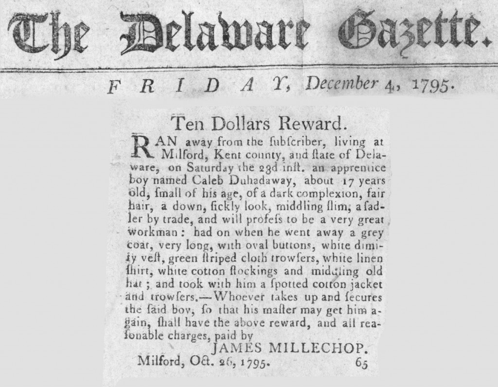An ad in the Delaware Gazette for a runaway servant.
