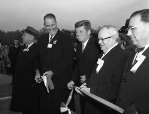 (Left to Right) N. Maxon Terry, Delaware Governor Elbert N. Carvel, President John F. Kennedy, Maryland Governor Millard J. Tawes.