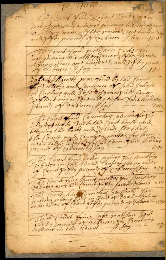 1680: Sussex County court docket - Delaware Public Archives
