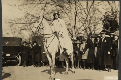 Inez Milholland Boissevain preparing to lead the suffrage parade in Washington D.C. on March 3rd, 1913
