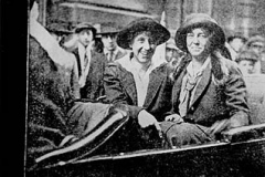 Mabel Vernon and Sara Bard Field in the automobile in which they crossed the country in 1915. The women were involved in a transcontinental tour which gathers over a half-million signatures on petitions to Congress.