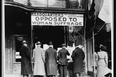 In 1911, the National Association Opposed to Woman Suffrage is organized. This organization is led by Mrs. Arthur Dodge, its members included wealthy, influential women, some Catholic clergymen, distillers and brewers, urban political machines, Southern Congressmen, and corporate capitalists.
