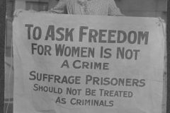 Mary Winsor (Pennsylvania) holding a Suffrage Prisoners banner in 1917