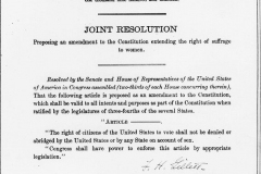 In 1878, a Woman Suffrage Amendment is proposed in the U.S. Congress. When the 19th Amendment passes forty-one years later, it is worded exactly the same as in 1878.