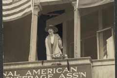 Jeannette Rankin of Montana is the first woman elected to the House of Representatives. Woodrow Wilson states that the Democratic Party platform will support suffrage. Congress woman Jeannette Rankin speaks from the NAWSA headquarters in 1917.